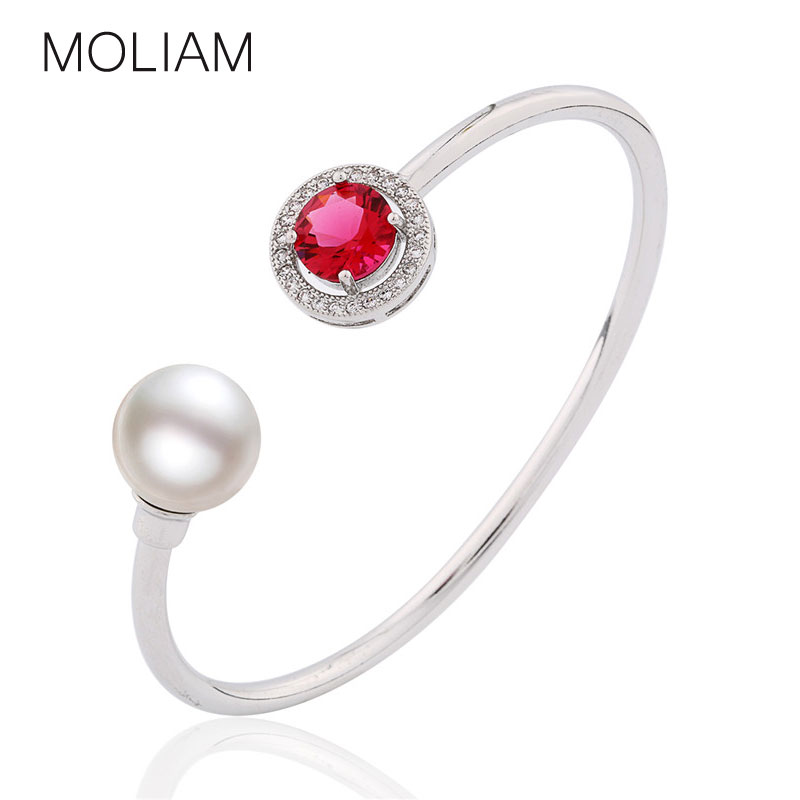 MOLIAM High Quality Open Cuff Bangles for Womens 18K White Gold Plated Simulated Pearl Bangle Crystal Zirconia Jewelry Z046(China (Mainland))