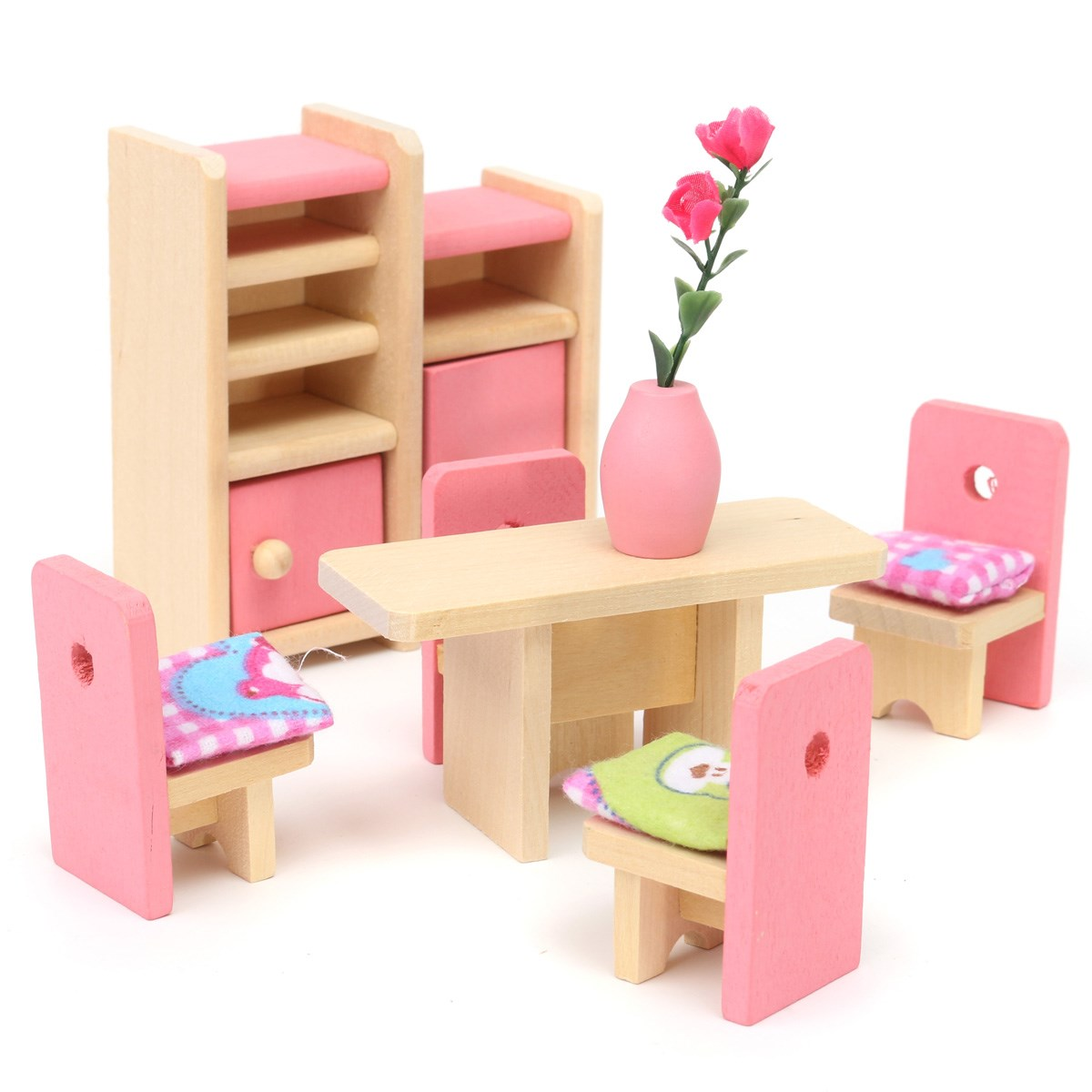 Wooden Delicate Dollhouse Furniture Toys Miniature For Kids Children Pretend Play 6 Room set/4 Dolls Toys(China (Mainland))