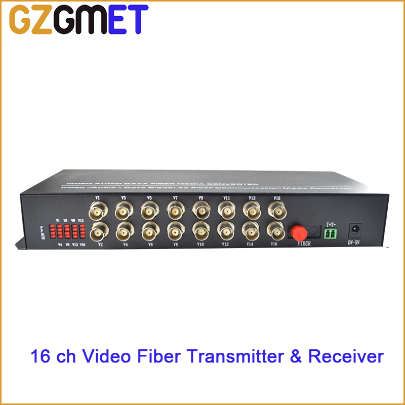 GZGMET 20km BNC 16 CHANEL optical media converter WITH transmitter receiver video audio date single mode(China (Mainland))