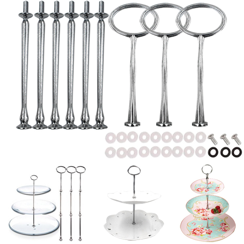3pcs/ Set Stand 3-Tier Oval Ring Top Cake Stand Cake Plate Displayer Holder Handle Fittings TB Sale(China (Mainland))