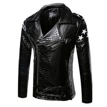 New Arrival Men Brand jacket Imitation crocodile skin texture fashion leather jacket Casual Coat Motorcycle jacket PP1664