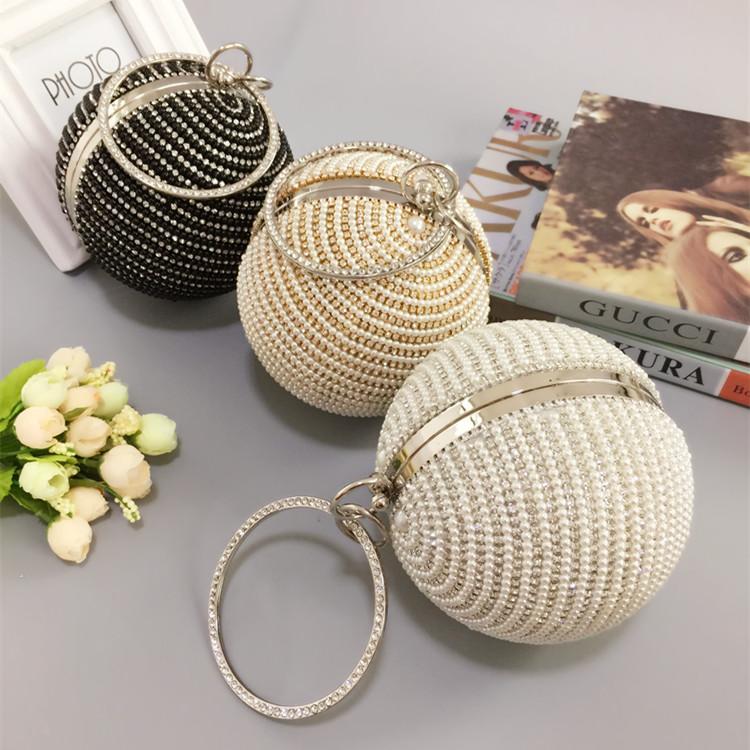 Bolsa De Festa Retro : Luxury round globe shape pearl women evening shoulder bag