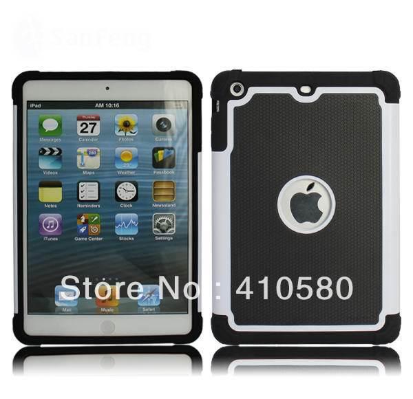 Free shipping Bulk Wholesale 200 Pcs/lot TPU+PC+Silicone Combo Silicone Rubber Triple Hard Case For iPad Mini(China (Mainland))