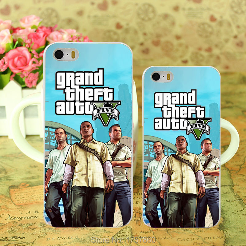 1pcs gta 5 poster grand theft auto Game cover -2 hard white Case for iphone 5 5s 4 4g 4S 5c Retail(China (Mainland))