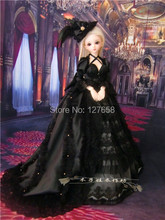 Free shipping 2014 new 1/3  1/4 full hand made  doll clothes sexy Black dress / wedding / palace dress  for BJD SD doll body(China (Mainland))