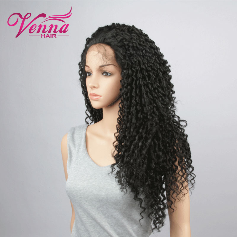 Natural Black Synthetic Hair Wigs Afro Kinky Curl Wig Lace Front Heat Resistant Long Hair Wig