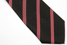 NT0463 Red Black Striped Classic Silk Polyester Blend Smooth Man s Casual Jacquard Woven Necktie Business