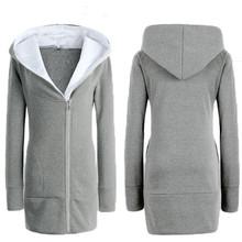 Autumn Winter Women Thick Fleece Hoodies Sweatshirt Slant Zipper Hoodie Sport Outerwear Long Coat Plus Size S-3XL Hooded Jacket(China (Mainland))
