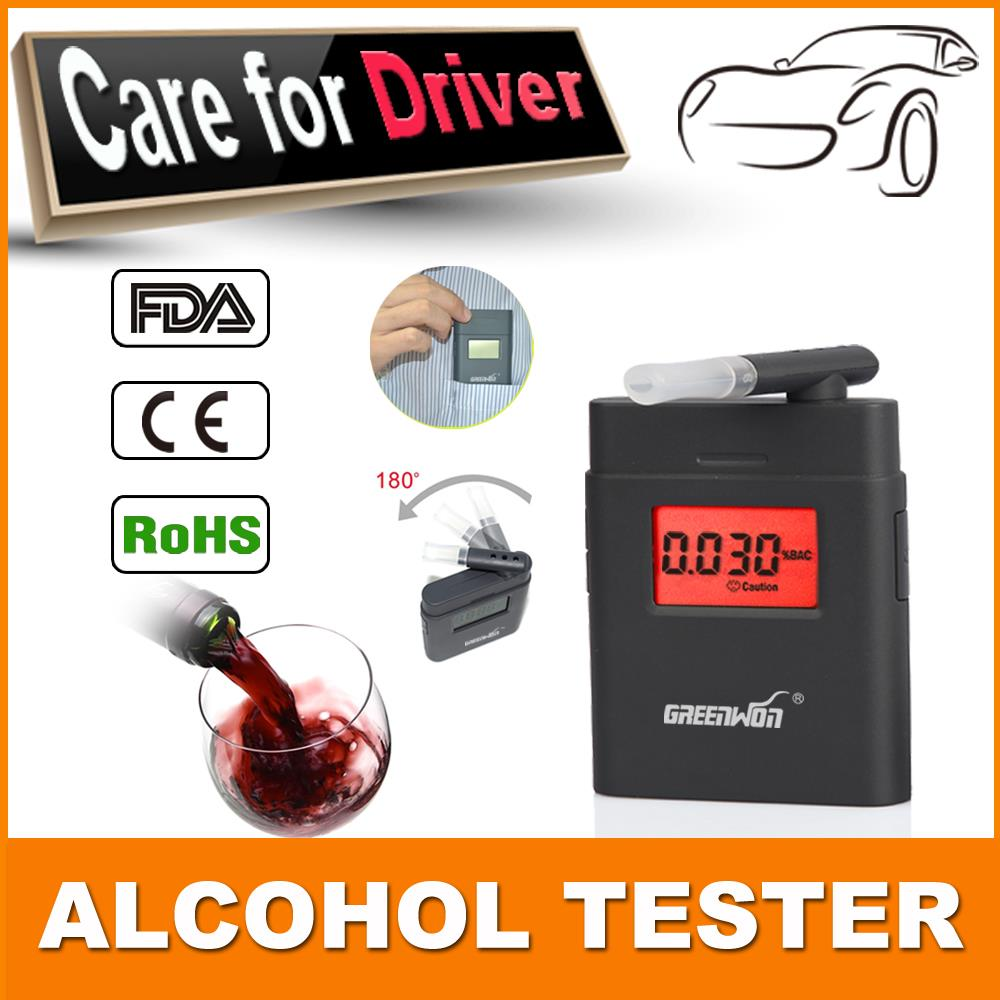 New portable 360 degree rotating mouthpiece red backlight Accurate Breath Alcohol Tester LED Light Alcohol breathalyzer AT838(China (Mainland))