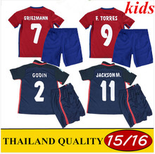 Free ship Thai Quality JACKSON M kids 2016 Jersey Soccer shirt Jackson Martinez Madrids F.TORRES KOKE kids kits Football Shirt(China (Mainland))
