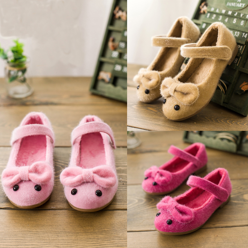 New 2014  Children Autumn/Winter Shoes Girls Sneaker Shoes Fur Material and Lovely Mouse Color Pink/Red/Brown(China (Mainland))