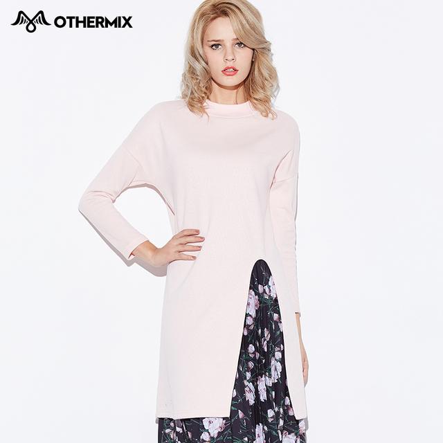 Othermix 2016 весной новый сладкий ветер v-щель длинный участок прямой женщина свитер