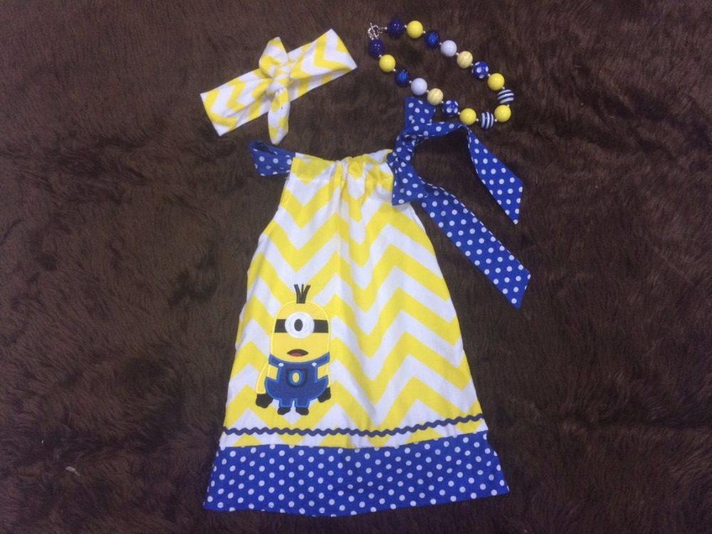 2015 Baby kids girls new yellow chevron  minions dress with matching necklace and bow set(China (Mainland))