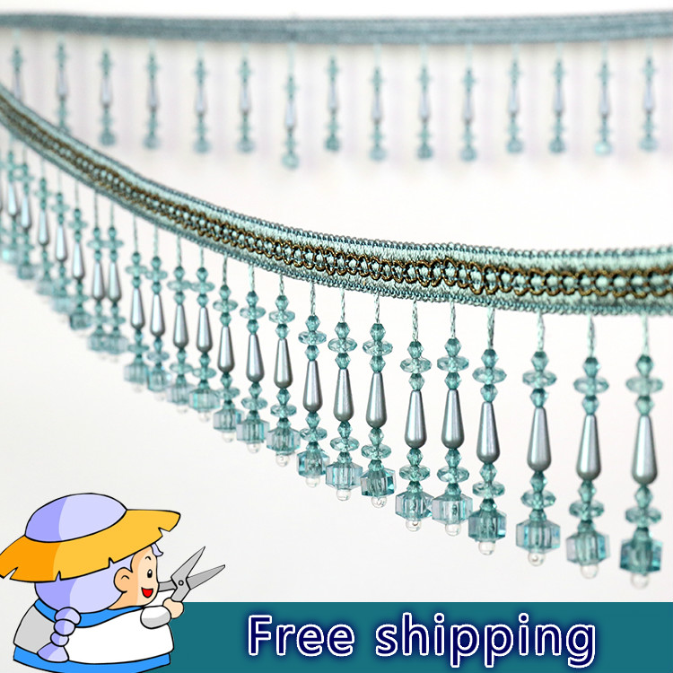 Luxury Crystal Beaded trim for curtains African Lace Fabric Tassel Fringe lace Ribbon 8.3cm Width Lace Sewing Curtain Accessory(China (Mainland))