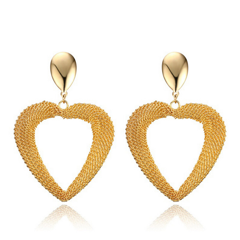 2016 Fashion Jewelry Stainless Steel Earring Gold Plated Hollow Mesh Heart Shaped Drop Earrings For Women(China (Mainland))