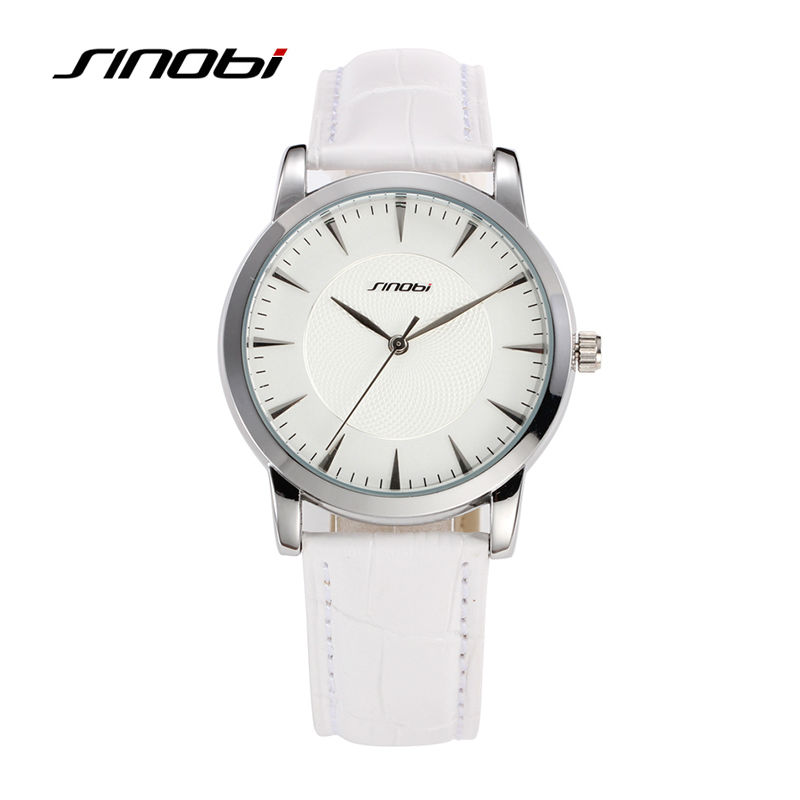 SINOBI Mens White Casual Leather Wrist Quartz Watch Fashion Designer Wristwatch Brand Male Waterproof Watch Lover Clock hours<br><br>Aliexpress