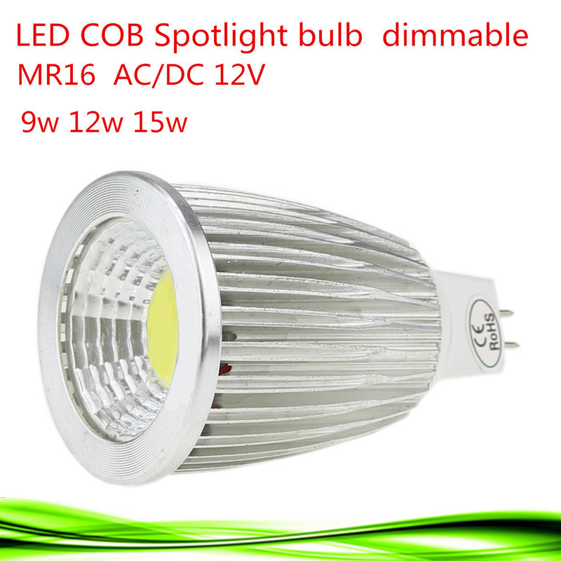 1pcs Super bright MR16 COB 9W 12W 15W LED Bulb Lamp MR16 12V ,Warm White/Pure/Cold White led LIGHTING(China (Mainland))