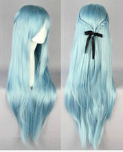 TJ&FY****** New Sword Art Online GrilLong Straight Light Blue Asuna Yuuki Violet Cosplay Wig - RuiYong Bi's store