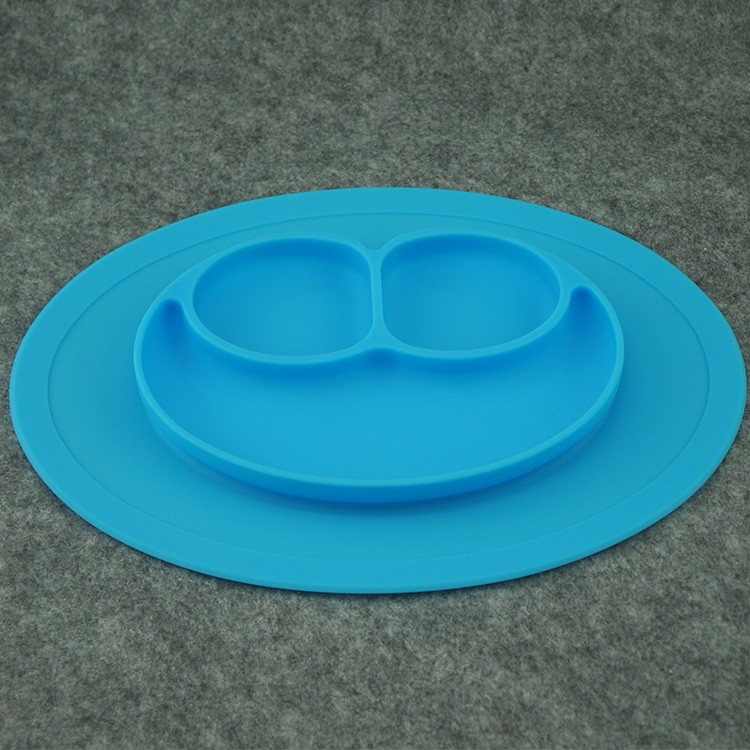 8 colors Silicone Children Placement Baby Plate One-piece Silicone Plate Tray Dishes Food Holder for Baby Toddler Kids Children