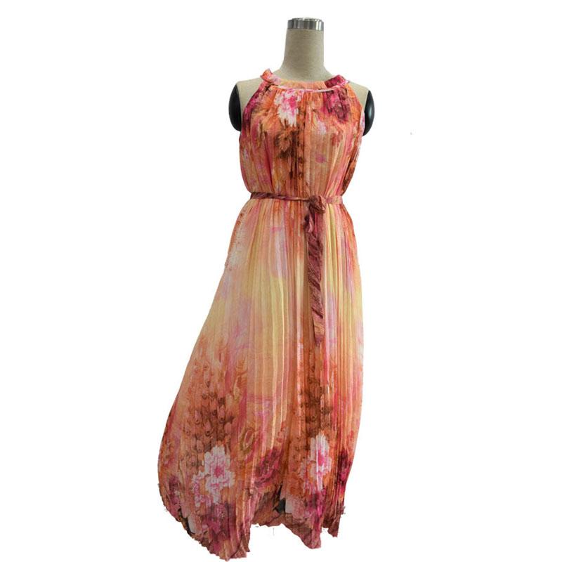 Bohemian Summer Ethnic Style Elegant Womens O-Neck Sleeveless Floral Print Pleated Chiffon Beach Holiday Plus Size Maxi Dress(China (Mainland))