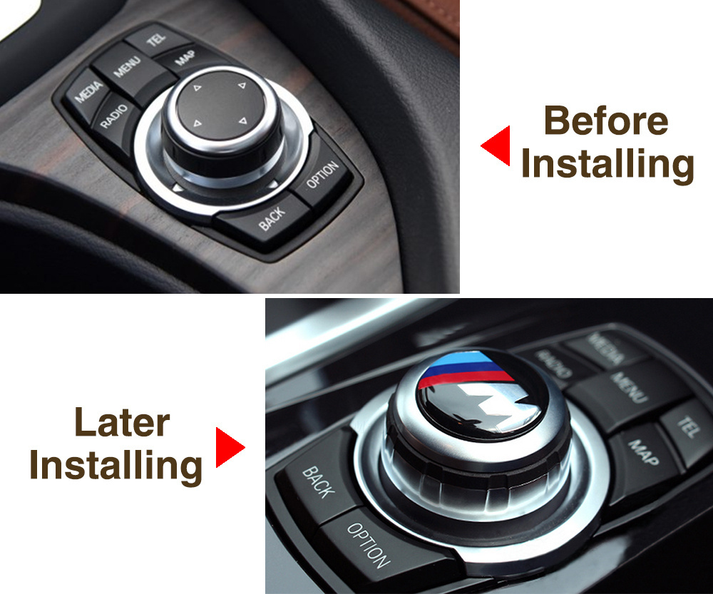 Car styling 30mm Multimedia audio control buttons labeled labeling interior decoration car stickers modified for bmw Aluminum(China (Mainland))