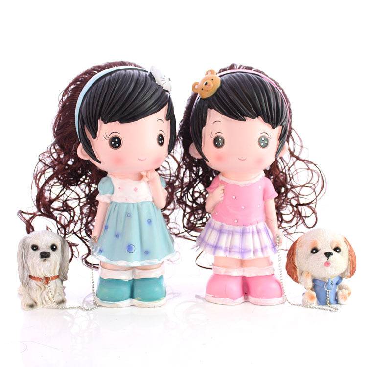 Beautiful girl home gift sell like hot cakes The wedding place children's day gift a girl resin dog(China (Mainland))