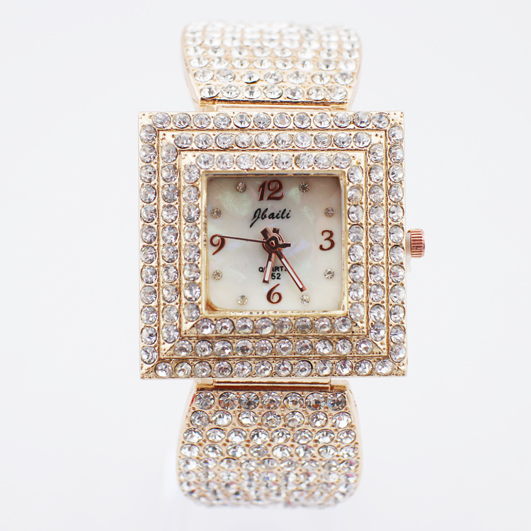 2016 Fashion & Casual Gems Stones Metal Limited New Arrival Women Hardlex Square Mechanical Watches Diamond Table Wholesale(China (Mainland))
