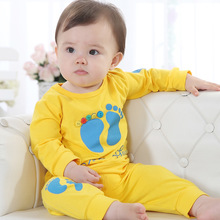Hot sale Spring Autumn Candy color cartoon baby clothing set infant long sleeve baby girls boys