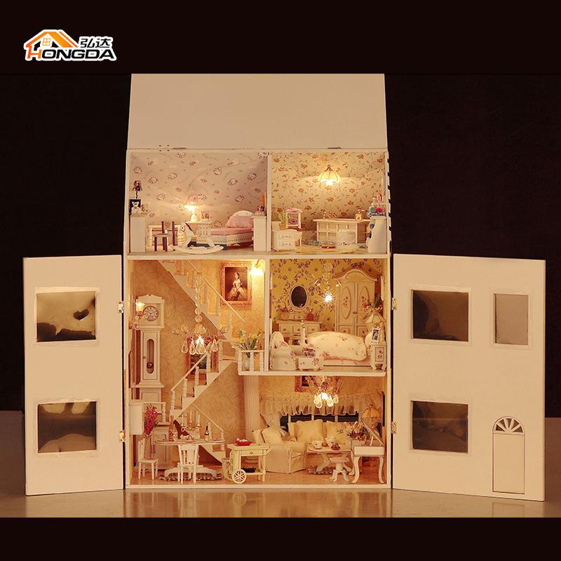 Large Handmade Diy Doll House Assembled 3D Miniature Model Building ...