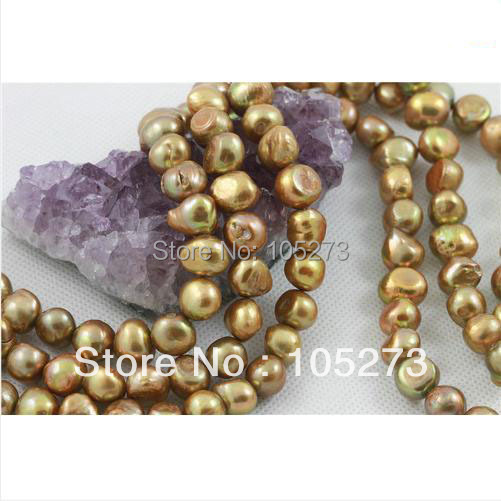 New Arriver Natural Pearl Jewelry 15/String Cultured Freshwater Pearl Loose Beads Baroque Shaper 8-9mm Brown Color Free Ship<br><br>Aliexpress