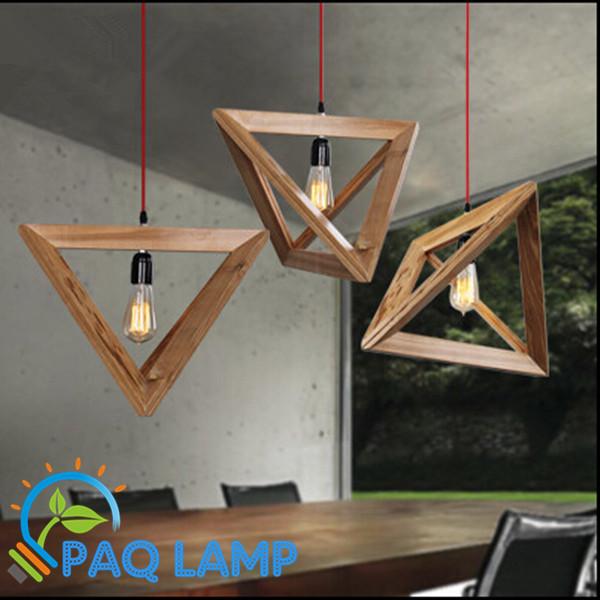 Modern pendant light wood lamp restaurant bar coffee - Table haute en palette ...