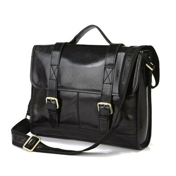 Shiny Vintage Leather Men's Black Business Laptop Bag Briefcase Messenger Bag handbag Purse #7101A