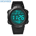 2016 HONHX Hot Sale Fashion Waterproof Men s Boy LCD Digital Stopwatch Date Rubber Sport Wrist