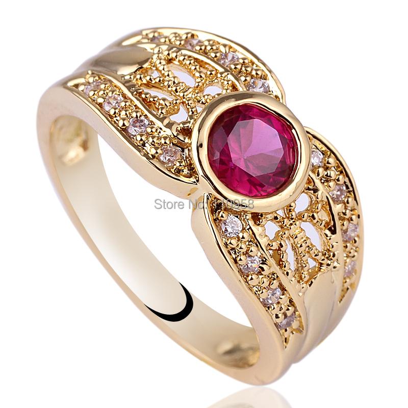 Women Round Red Ruby Purple Amethyst Simulated Diamond Gold Finish 925 Sterling Silver Ring NAL GFL