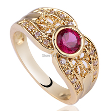 WoMen Round Red Ruby Lace Carve Purple Amethyst White Diamonds 18K Gold GF Solid 925 Sterling Silver Ring NAL GFL RV124 Sz 6 7 8