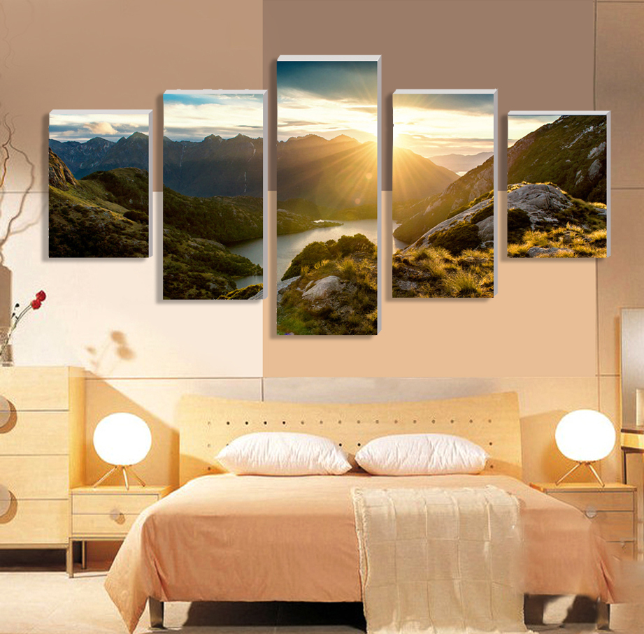 2016 new 5 piece hot sell sunrise modern home wall decor for Modern art home decor