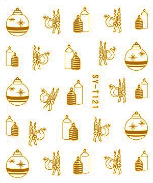 6 PACKS / LOT Gold/ Silver Water Stickers Metallic Nail Decals XMAS TREE DEER SNOW FLAKE SYT121-126(China (Mainland))