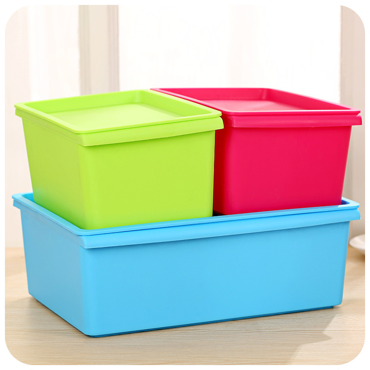 Can Be Stacked Bin Candy Color Bin Plastic Finishing Locker Desktop Receive A Case With A Cover F1174(China (Mainland))