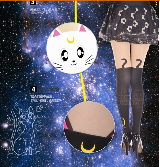 Hot New Sailor Moon Crystal Luna cat Leveret Thigh Highs Pantyhose Stocking Free ShippingОдежда и ак�е��уары<br><br><br>Aliexpress