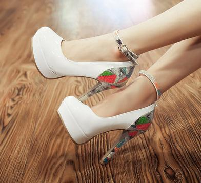 Фотография Free Shipping Small Size 32 33 41 Women Platforms Pumps Girls Sexy Spring Autumn Shoes Lady Buckle Ultra High Heel Printing Shoe
