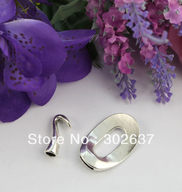 FREE SHIPPING 10 Sets of tibetan silver Oval Cord end Clasp for leather #22448