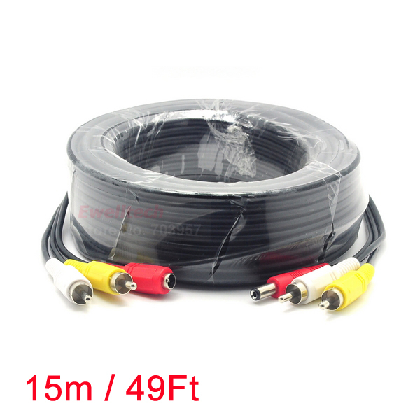 15M/49FT 2 RCA Audio Video DC Power AV Cable All-In-One Extension Line Wire For CCTV Camera DVR