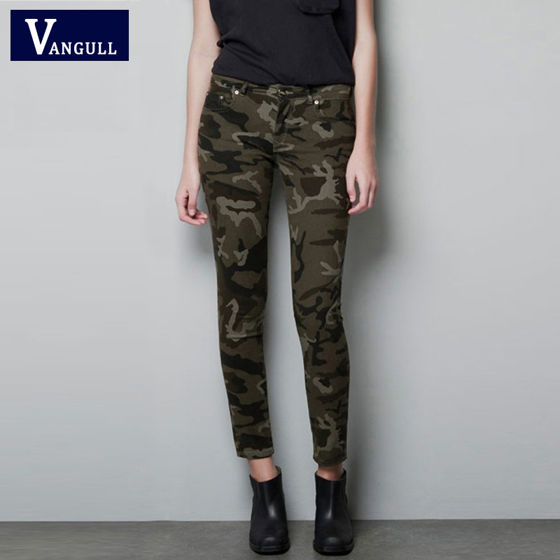 Creative Womens Army Military Green Camouflage Slim Fit Combat Trousers Cargo
