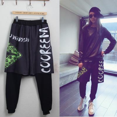 Nueva Moda Mujeres Pantalones carta desgaste del Ojo de impresión ds dos Falsos sueltos harem Hip hop danza de Jazz femeninas pantalones(China (Mainland))