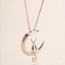 Стерлингового Серебра 925 Луна Кошка Китти Стерлингового Серебра 925 Цепь Choker Ожерелья & Подвески Для Женщин Подарок На День Рождения(China (Mainland))