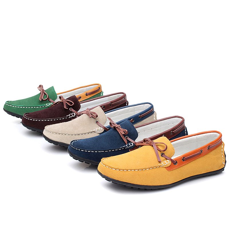 Brand New Flats Men Shoes Nubuck Leather Loafers Men Moccasins Lace up Gommino Driving Shoes<br><br>Aliexpress