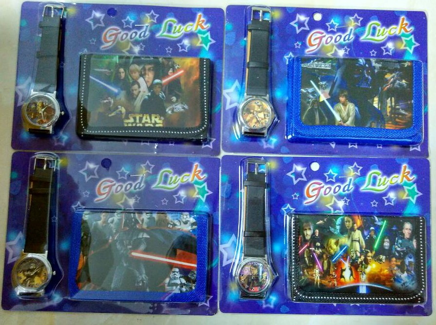Free shipping 1pcs/lot Star Wars kids Sets watch and wallet purse wrist quartz Christmas Children gift Cartoon watches