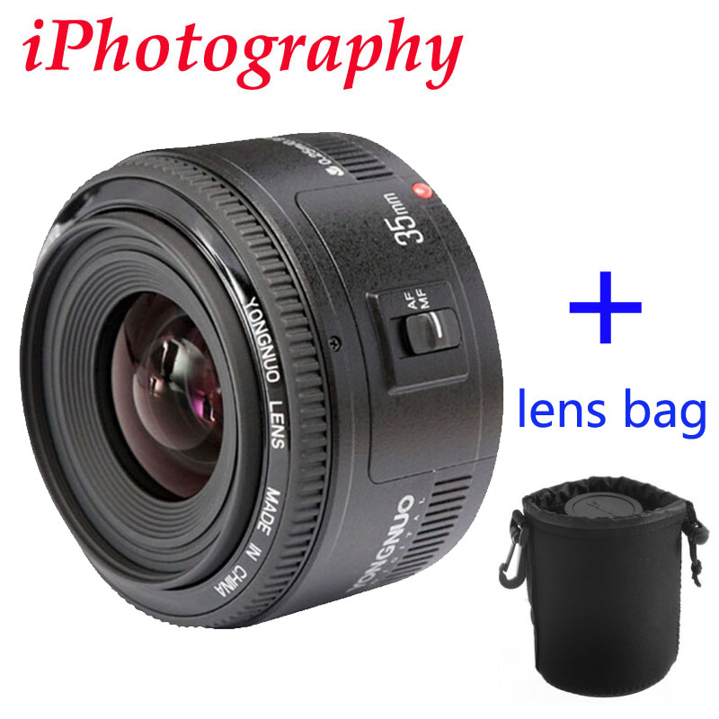 Yongnuo 35mm lens YN35mm F2 lens Wide-angle Large Aperture Fixed Auto Focus Lens canon EF Mount EOS Camera can choose bag