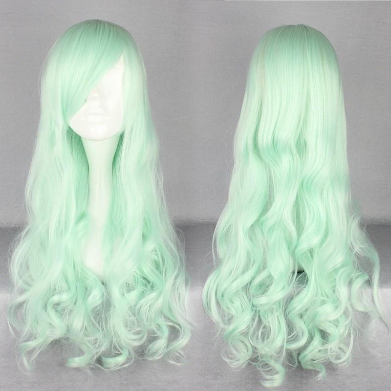 Гаджет  Free Shipping 2014 New Halloween Top Grade 70cm Long Curly Synthetic Light Green Lolita Wig None Волосы и аксессуары