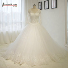 Stunning New Model 3/4 Lace Sleeves Princess Ball Gown Wedding Dresses Wedding Gown 2016(China (Mainland))